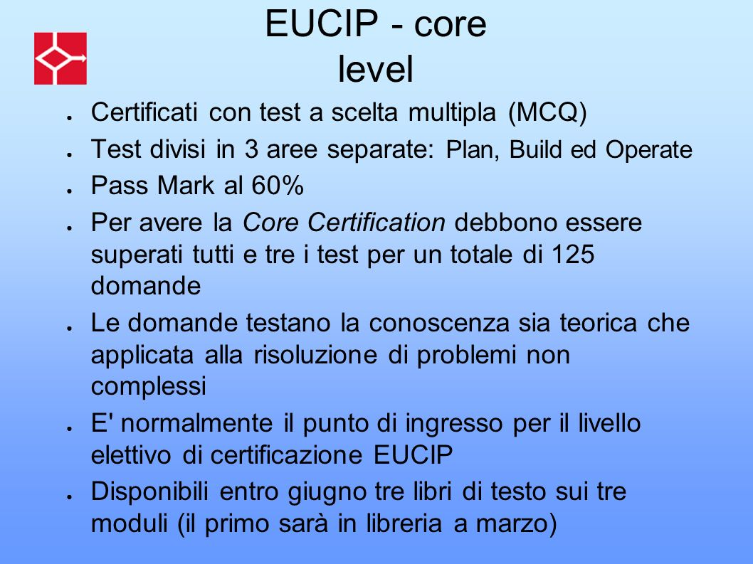 EUCIP - core level Certificati con test a scelta multipla (MCQ)