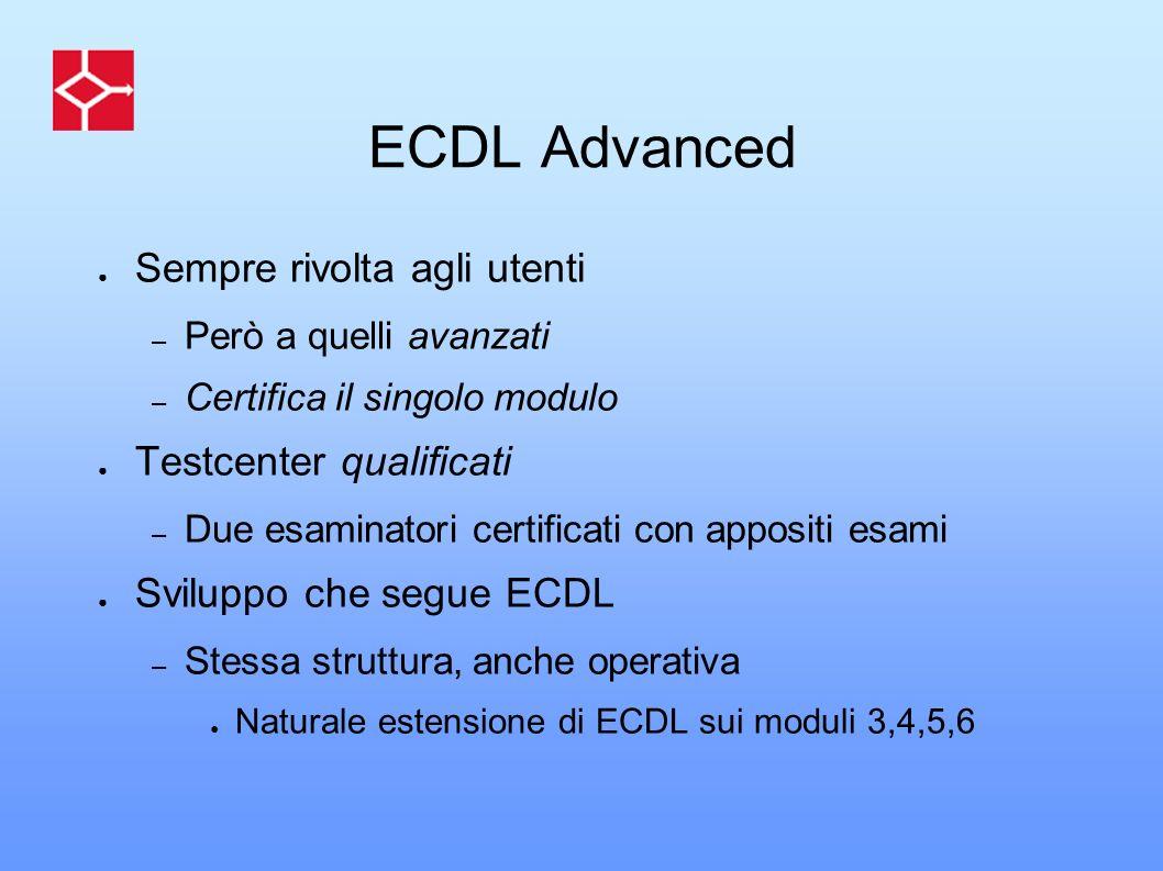 ECDL Advanced Sempre rivolta agli utenti Testcenter qualificati