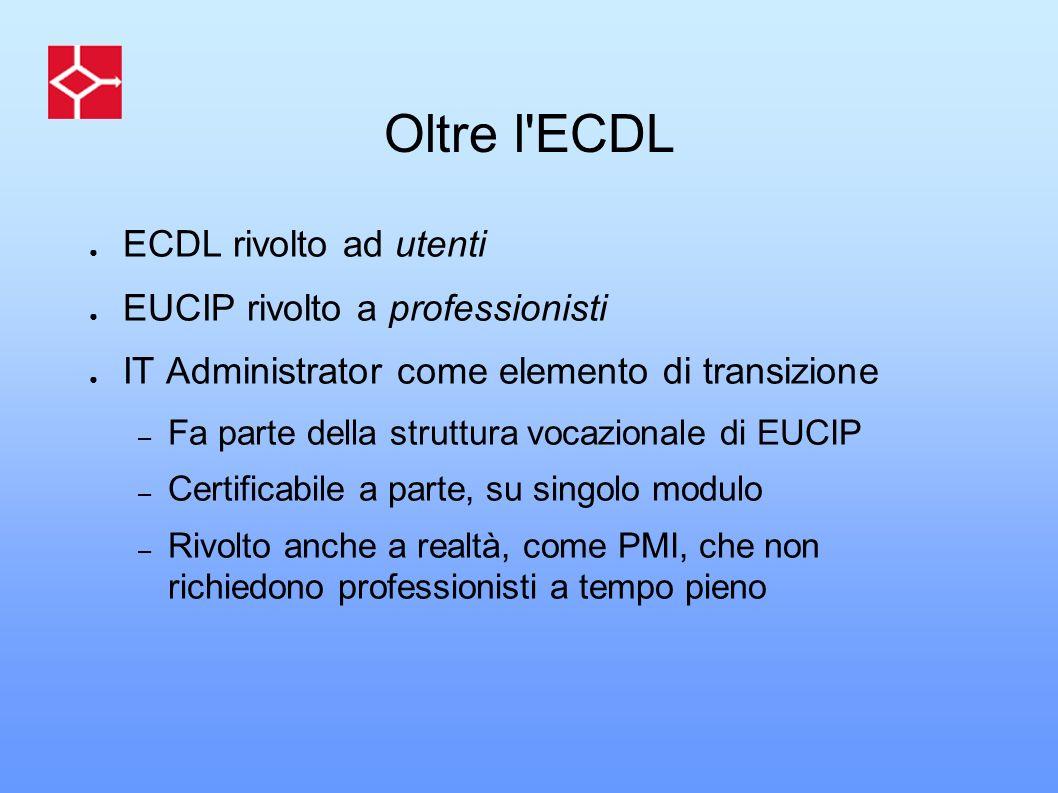 Oltre l ECDL ECDL rivolto ad utenti EUCIP rivolto a professionisti