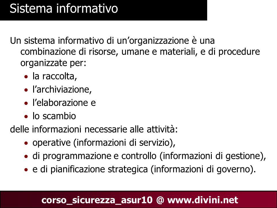 Sistema informativoUn sistema informativo di un'organizzazione è una combinazione di risorse, umane e materiali, e di procedure organizzate per: