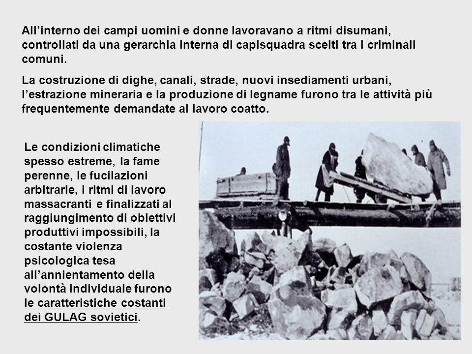 All'interno dei campi uomini e donne lavoravano a ritmi disumani, controllati da una gerarchia interna di capisquadra scelti tra i criminali comuni.
