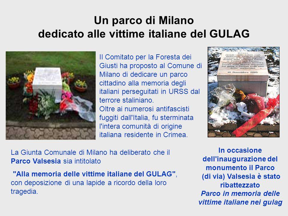 Un parco di Milano dedicato alle vittime italiane del GULAG