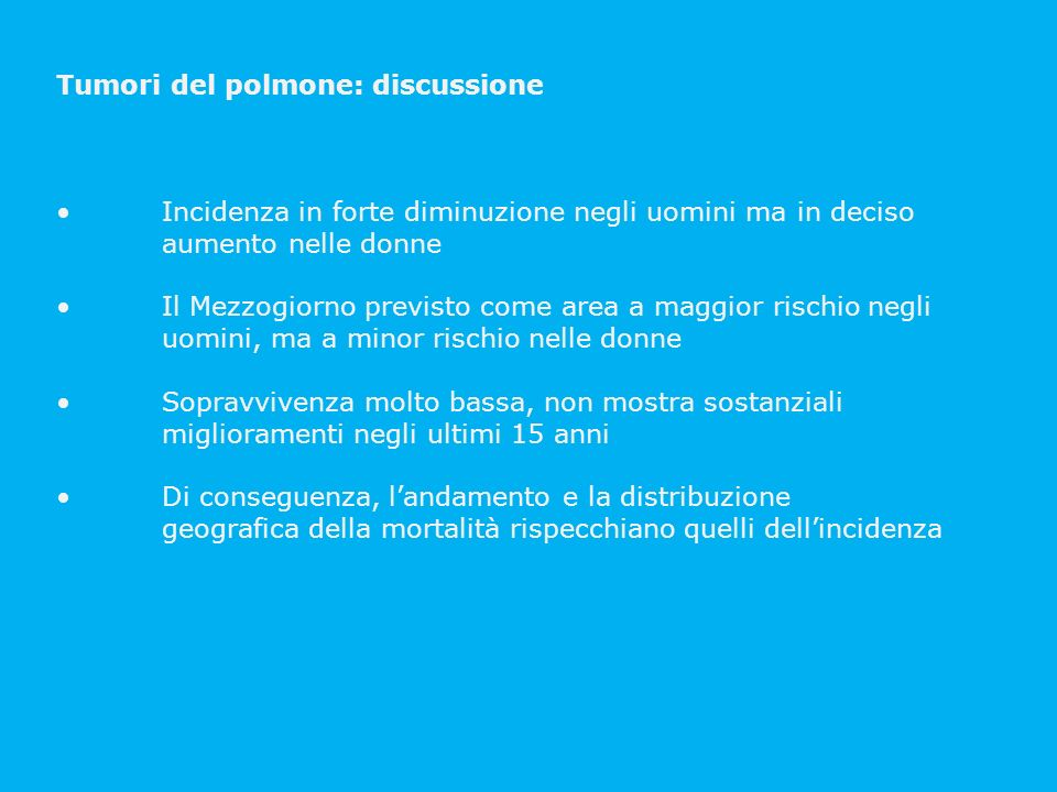 Tumori del polmone: discussione