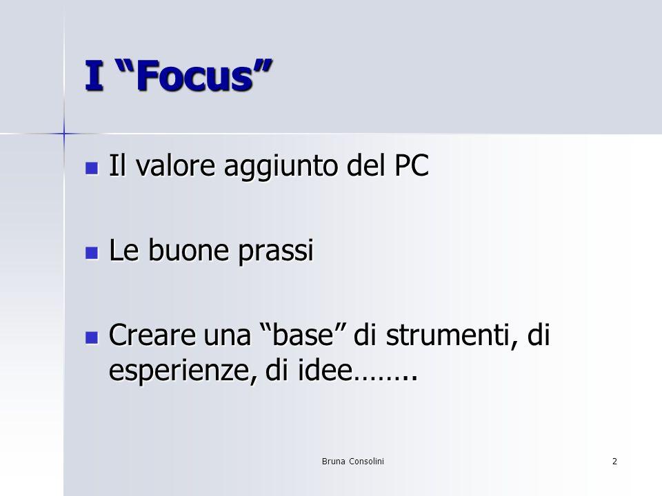 I Focus Il valore aggiunto del PC Le buone prassi