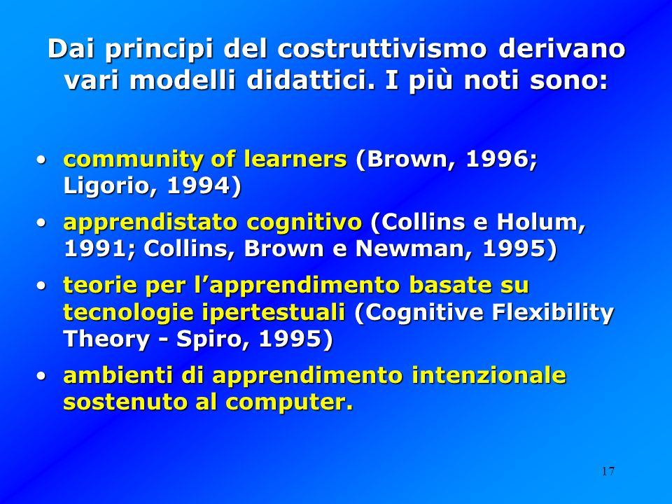 Dai principi del costruttivismo derivano vari modelli didattici