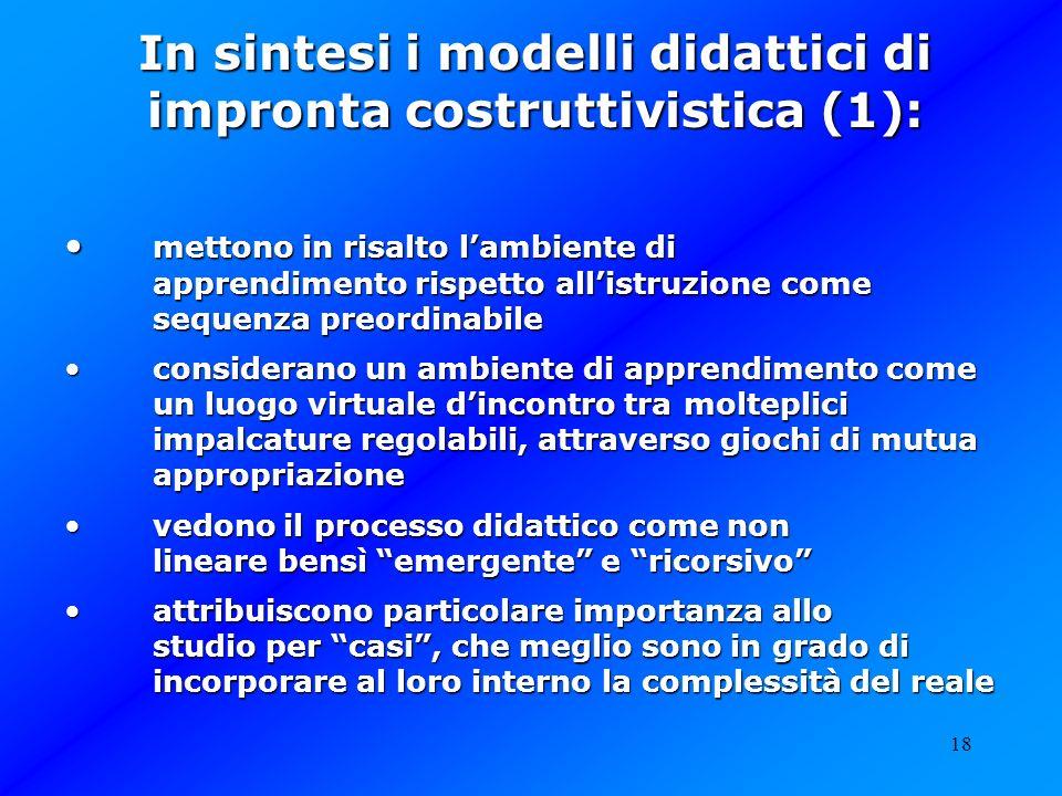 In sintesi i modelli didattici di impronta costruttivistica (1):