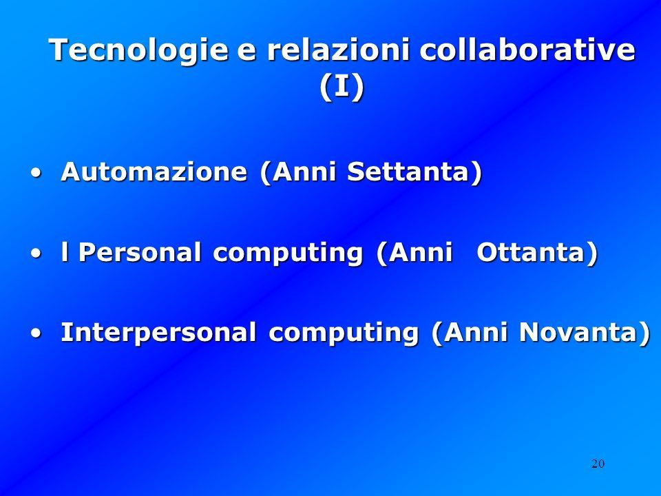 Tecnologie e relazioni collaborative (I)