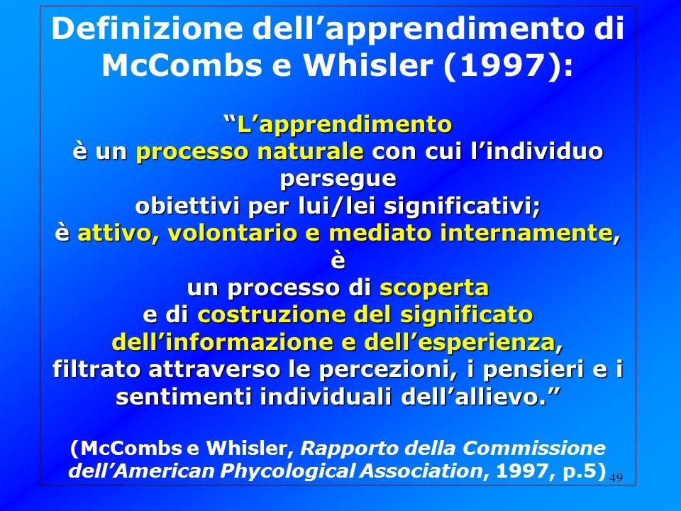 Definizione dell'apprendimento di McCombs e Whisler (1997):