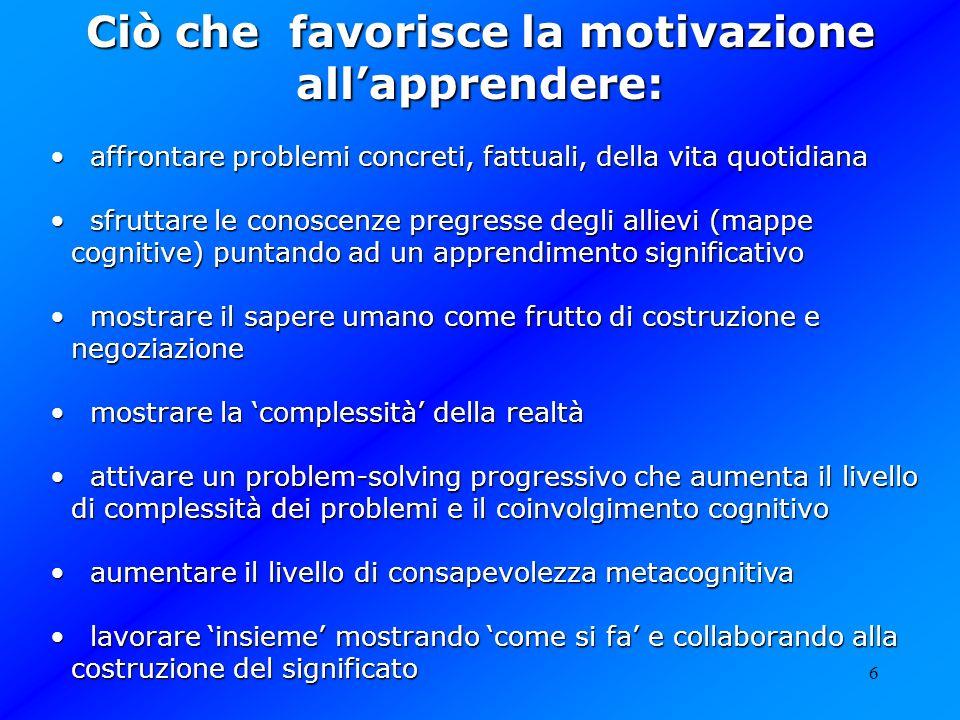 Ciò che favorisce la motivazione all'apprendere: