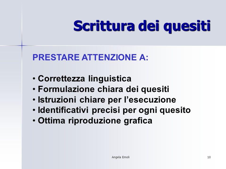 Scrittura dei quesiti PRESTARE ATTENZIONE A: Correttezza linguistica