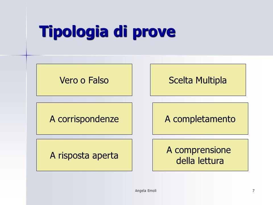 Tipologia di prove Vero o Falso Scelta Multipla A corrispondenze