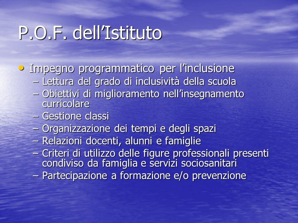 P.O.F. dell'Istituto Impegno programmatico per l'inclusione