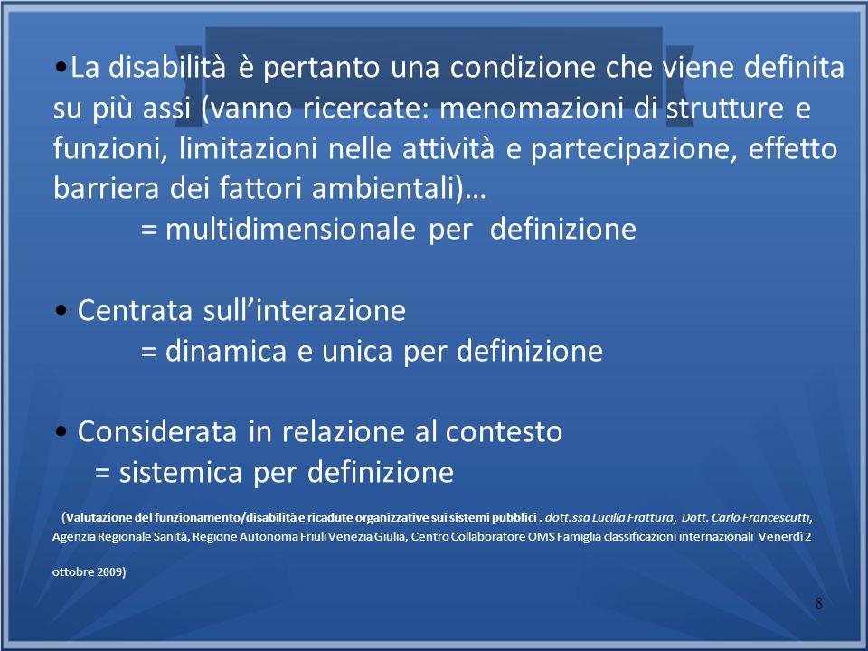 = multidimensionale per definizione Centrata sull'interazione