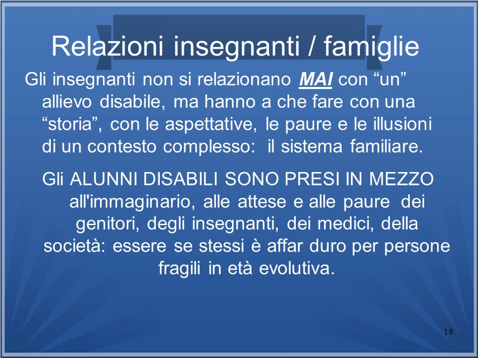 Relazioni insegnanti / famiglie