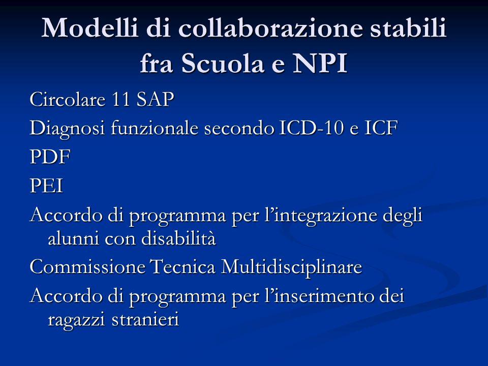 Modelli di collaborazione stabili fra Scuola e NPI