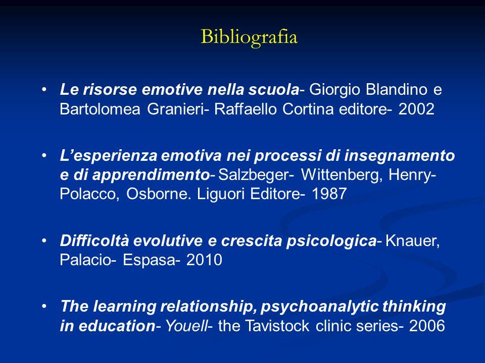 Bibliografia Le risorse emotive nella scuola- Giorgio Blandino e Bartolomea Granieri- Raffaello Cortina editore- 2002.