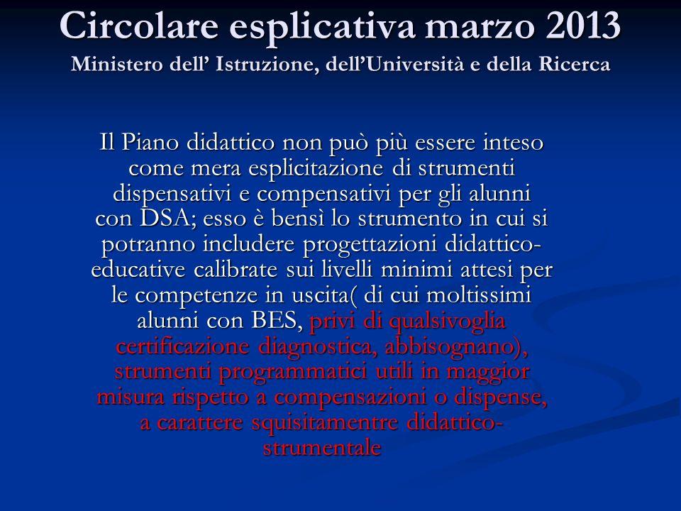 Circolare esplicativa marzo 2013 Ministero dell' Istruzione, dell'Università e della Ricerca