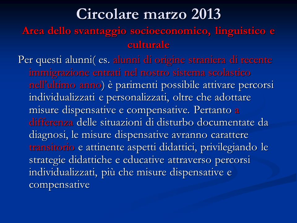 Circolare marzo 2013 Area dello svantaggio socioeconomico, linguistico e culturale