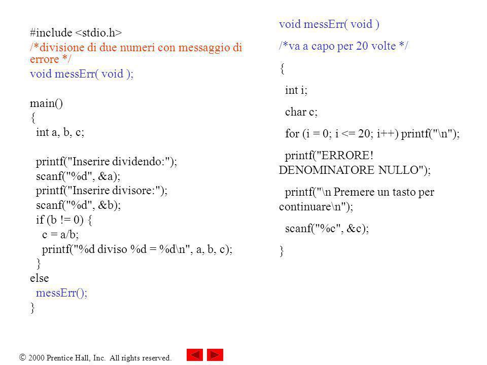 void messErr( void )/*va a capo per 20 volte */ { int i; char c; for (i = 0; i <= 20; i++) printf( \n );