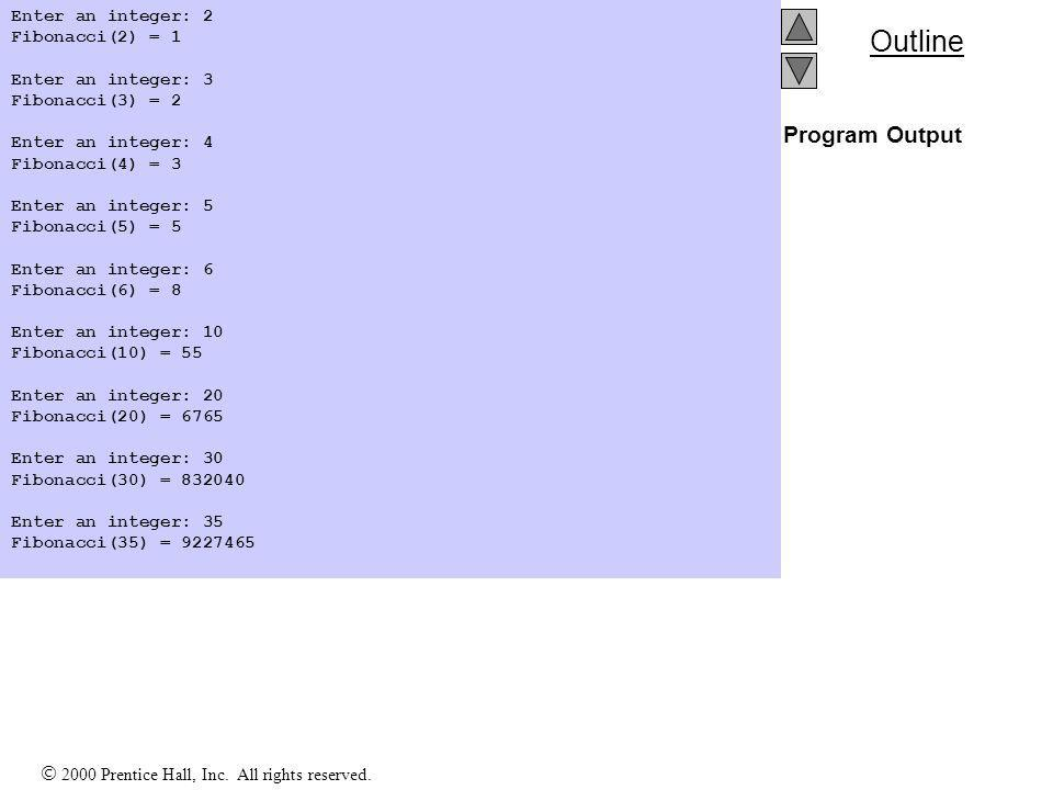 Program Output Enter an integer: 2 Fibonacci(2) = 1