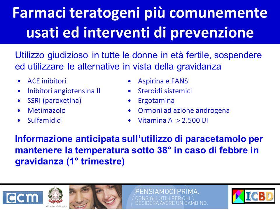 Farmaci teratogeni più comunemente usati ed interventi di prevenzione