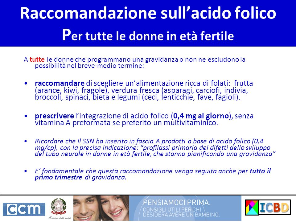 Raccomandazione sull'acido folico Per tutte le donne in età fertile