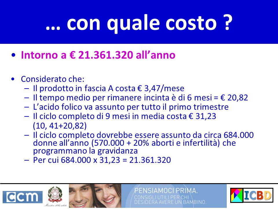 … con quale costo Intorno a € 21.361.320 all'anno Considerato che: