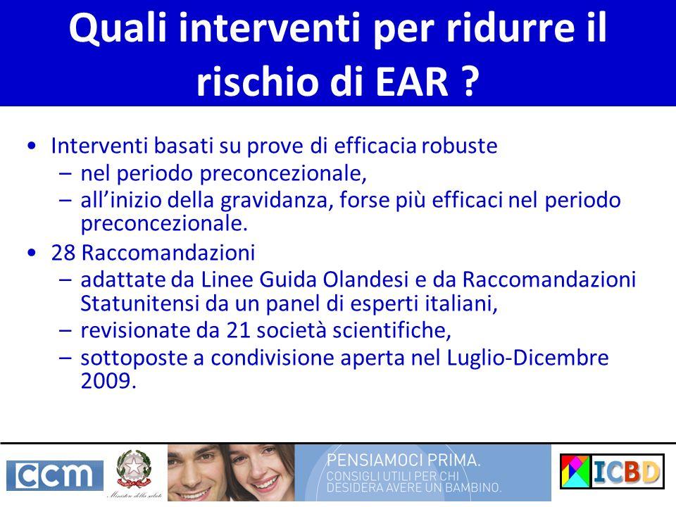 Quali interventi per ridurre il rischio di EAR