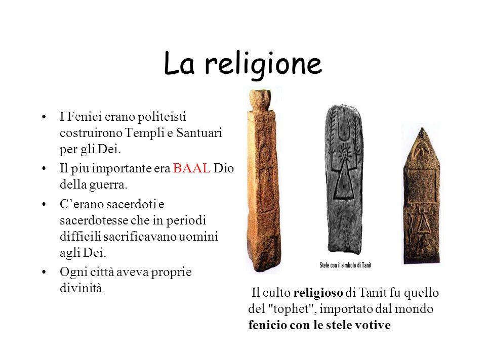La religione I Fenici erano politeisti costruirono Templi e Santuari per gli Dei. Il piu importante era BAAL Dio della guerra.