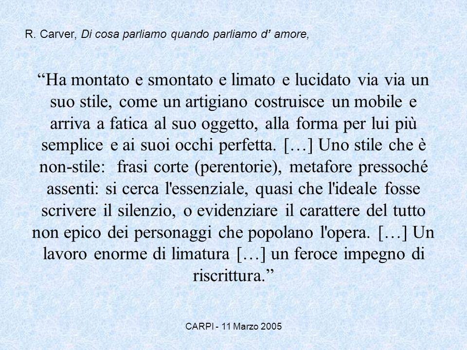 R. Carver, Di cosa parliamo quando parliamo d' amore,