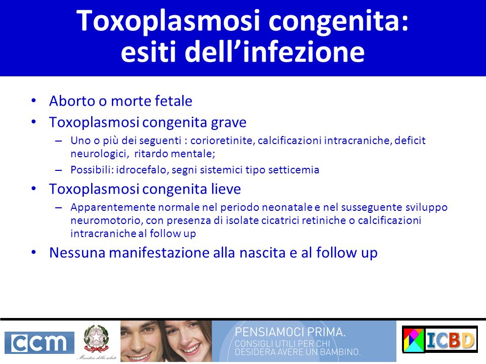 Toxoplasmosi congenita: esiti dell'infezione