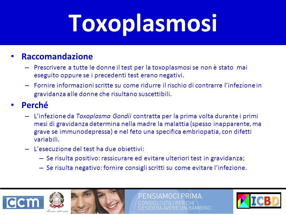 Toxoplasmosi Raccomandazione Perché