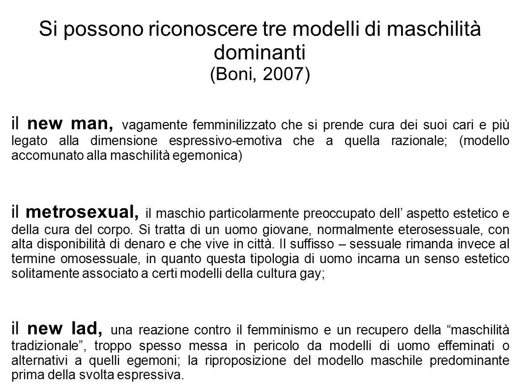 Si possono riconoscere tre modelli di maschilità dominanti (Boni, 2007)