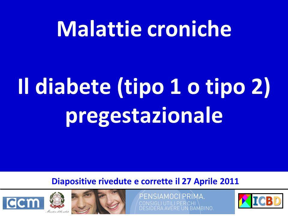 Malattie croniche Il diabete (tipo 1 o tipo 2) pregestazionale