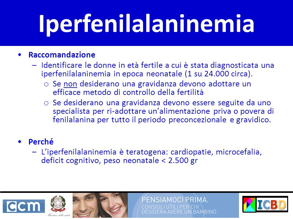 Iperfenilalaninemia Raccomandazione