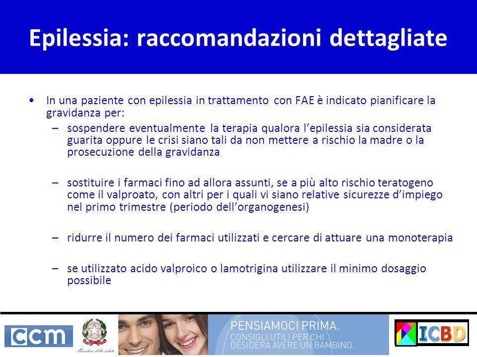 Epilessia: raccomandazioni dettagliate