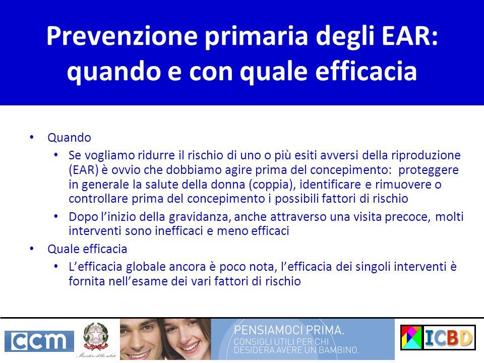 Prevenzione primaria degli EAR: quando e con quale efficacia