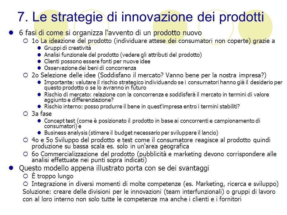 7. Le strategie di innovazione dei prodotti