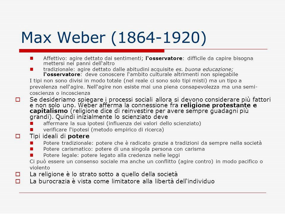 Max Weber (1864-1920) Affettivo: agire dettato dai sentimenti; l'osservatore: difficile da capire bisogna mettersi nei panni dell'altro.