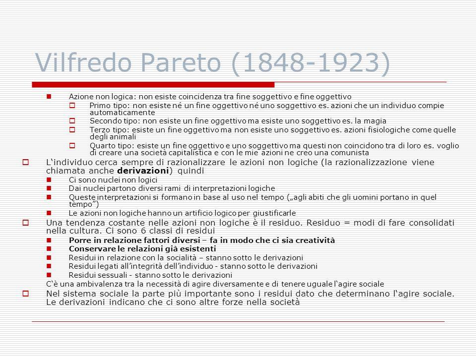 Vilfredo Pareto (1848-1923) Azione non logica: non esiste coincidenza tra fine soggettivo e fine oggettivo.