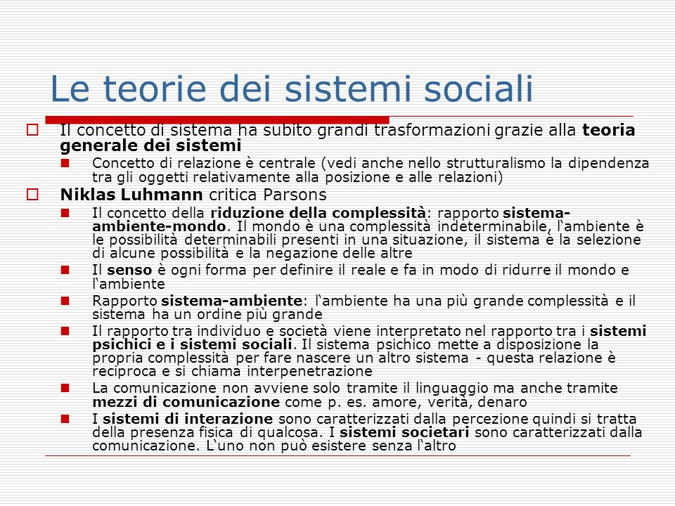 Le teorie dei sistemi sociali