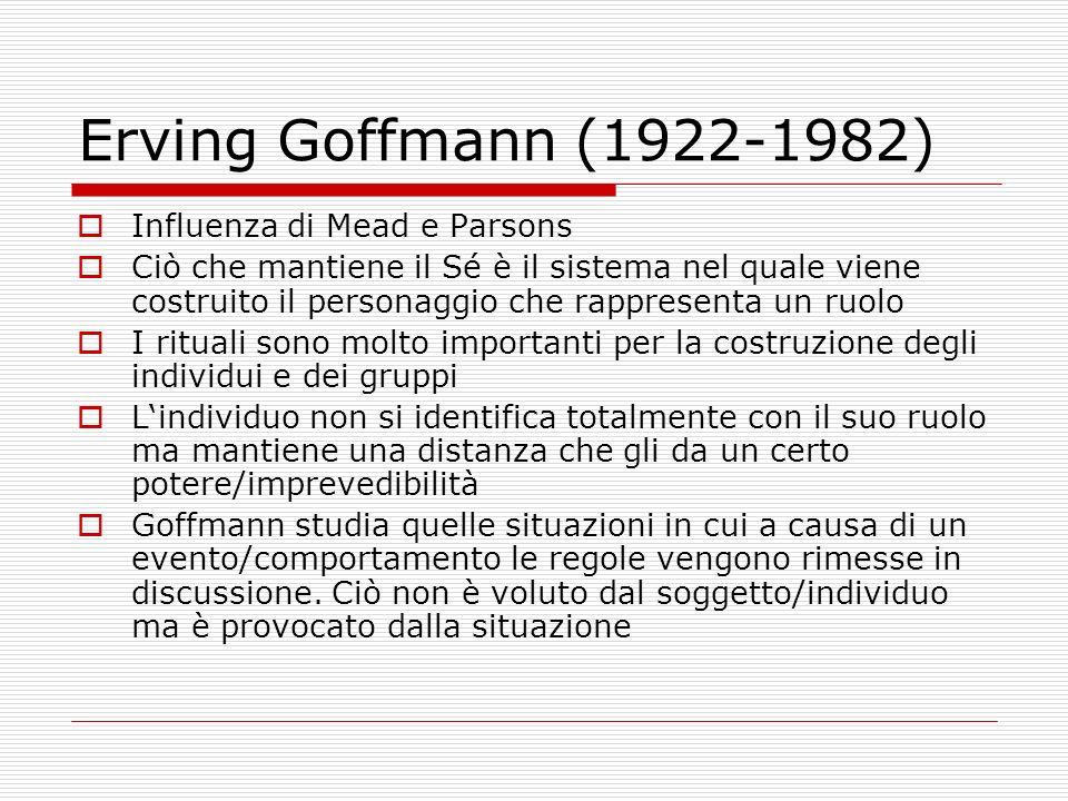 Erving Goffmann (1922-1982) Influenza di Mead e Parsons