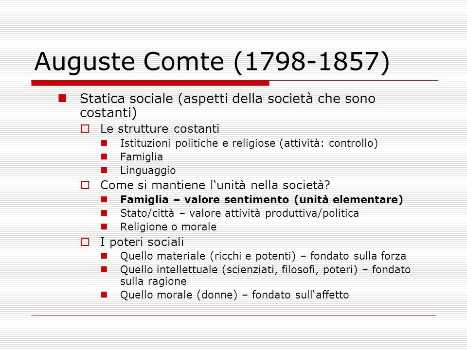 Auguste Comte (1798-1857) Statica sociale (aspetti della società che sono costanti) Le strutture costanti.