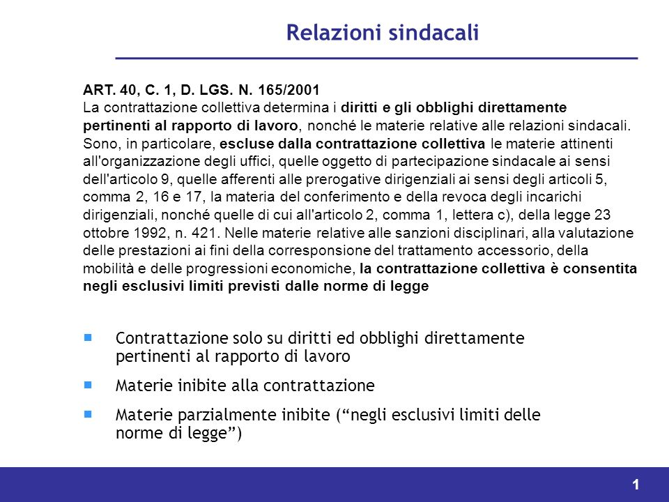 Relazioni sindacali ART. 40, C. 1, D. LGS. N. 165/2001.