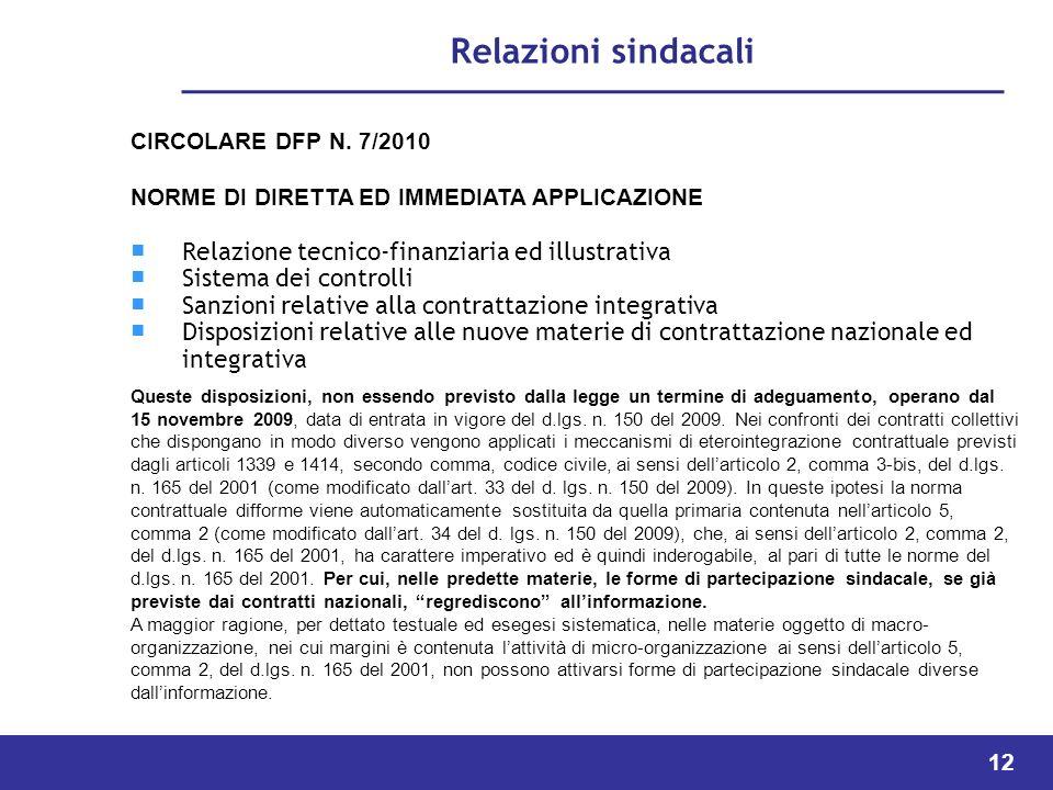 Relazioni sindacali Relazione tecnico-finanziaria ed illustrativa