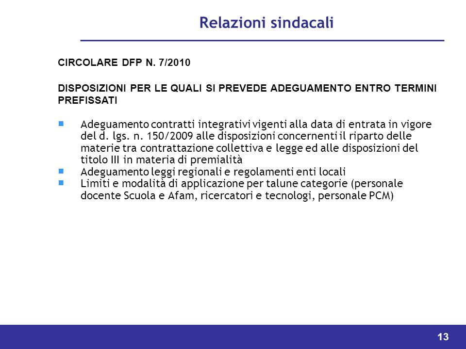 Relazioni sindacali CIRCOLARE DFP N. 7/2010. DISPOSIZIONI PER LE QUALI SI PREVEDE ADEGUAMENTO ENTRO TERMINI PREFISSATI.