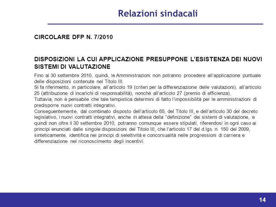 Relazioni sindacali CIRCOLARE DFP N. 7/2010