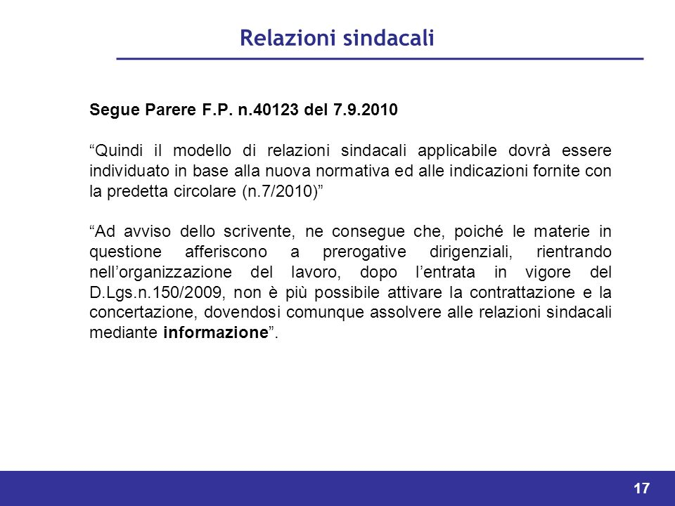 Relazioni sindacali Segue Parere F.P. n.40123 del 7.9.2010