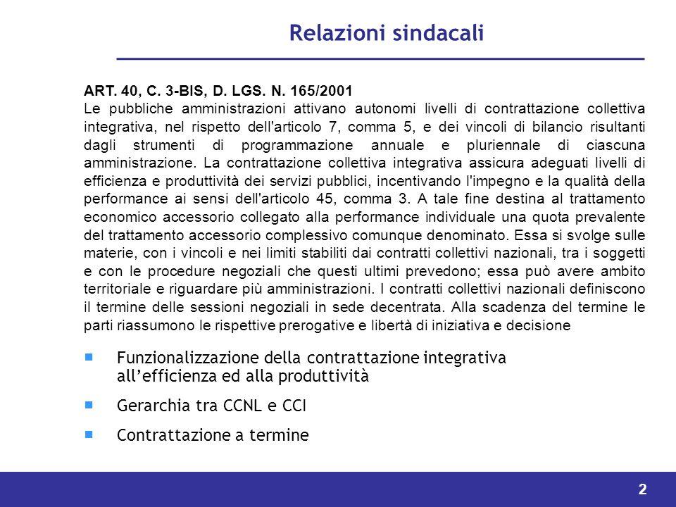 Relazioni sindacali ART. 40, C. 3-BIS, D. LGS. N. 165/2001.