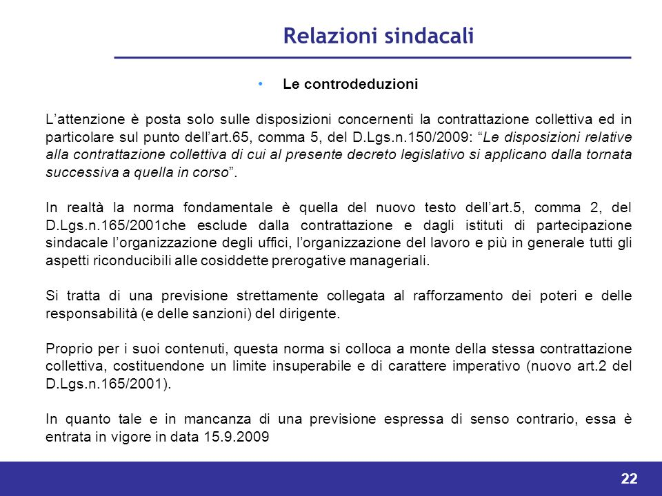 Relazioni sindacali Le controdeduzioni